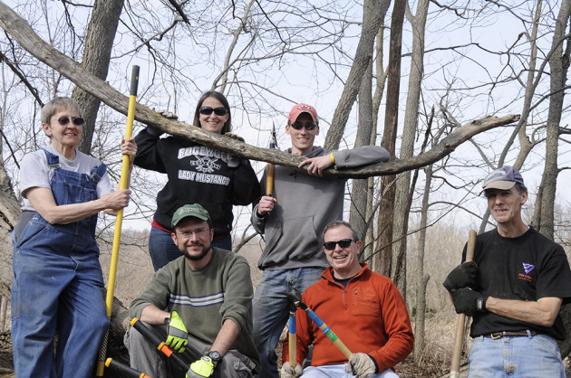 Volunteers enjoy good company and fresh air while maintaining Porter West Preserve. Photo by Martha Fox.