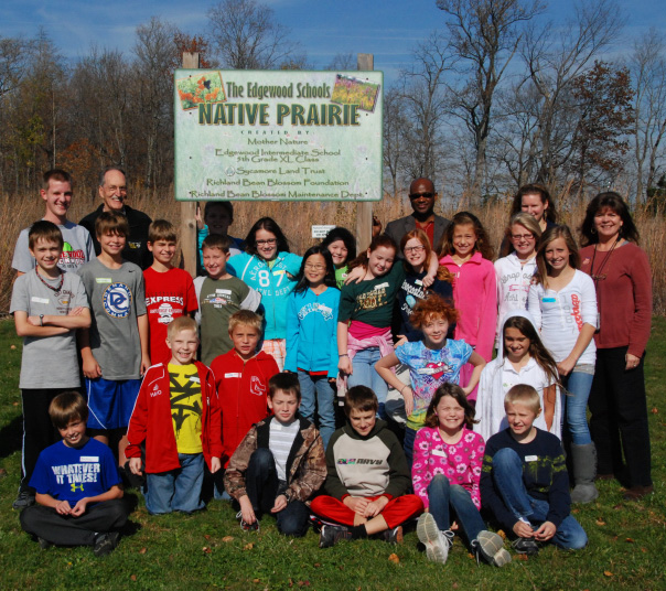Students at Edgewood Intermediate School played an active role in building a native prairie on their school grounds.