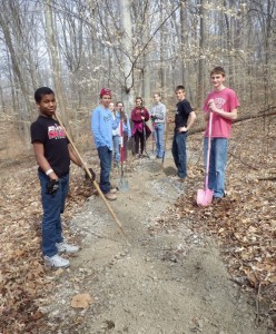 Students in the Interact Club volunteered their time to construct a trail at Lake Lemon Preserve.