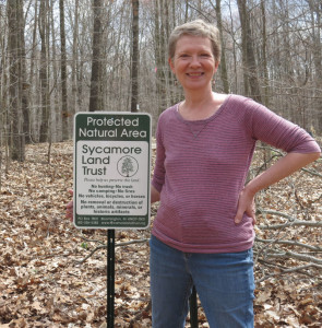 Jan Moore is delighted that her lovely woods are now protected as part of Trevlac Bluffs Nature Preserve.