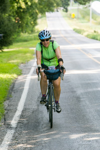 Legene White, winding up her second day of Climate Ride Midwest near Lawton, Michigan. Photo courtesy of Climate Ride.