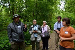 Chris Newman (left) is an avid birder. Here, he leads a birding tour at Eagle Slough Natural Area during Sycamore's Breakfast with the Birds event in May 2015. Photo by Jaime Sweany.