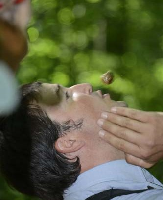"Shane Gibson demostrates his oak apple gall ""magic trick""—make it hover above you! Photo by Martha Fox."