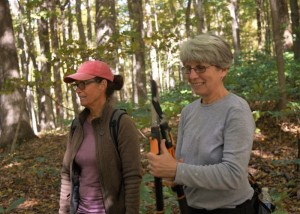 Patricia Denison and Jamie Clark ready to trim brush at Porter West during October's Preserve a Preserve Day. Photo by Jaime Sweany.