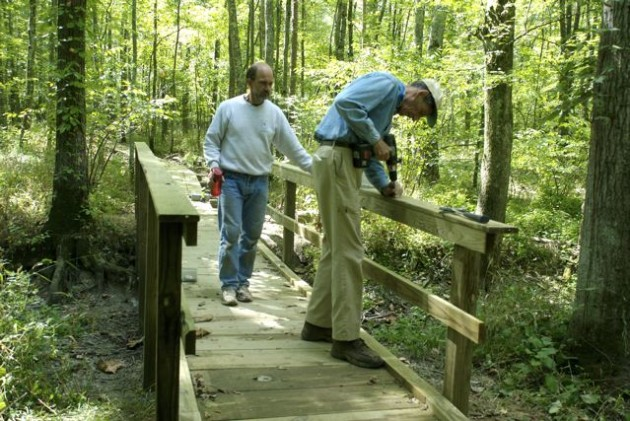 Building part of the boardwalk (John Gallman on right).