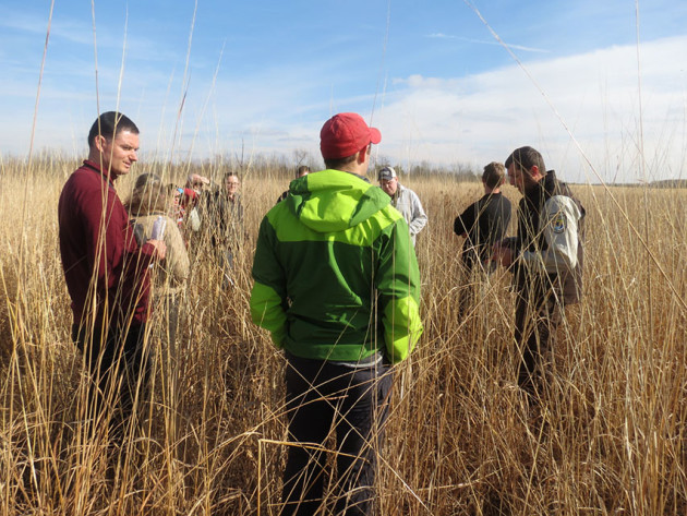 Graduate students at the School of Public and Environmental Affairs (SPEA) visited the Columbia Mine Preserve to gain context for a project mapping strategic areas for conservation in southern Indiana. Photo by John Lawrence.